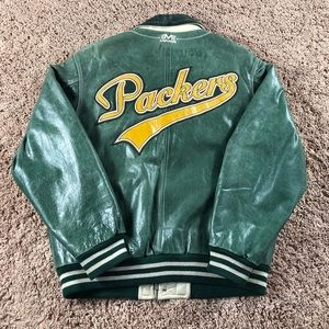 🔥90s Vintage Green Bay Packers Leather Jacket🔥